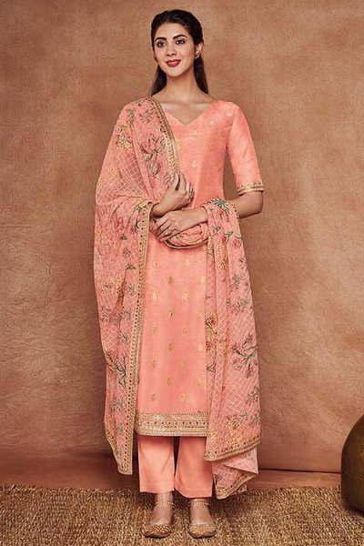 Stunning Fine Cotton Satin Embroidered Salwar Suit With Jacquard Silk Dupatta in Peach Colour
