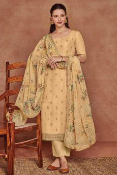 Tan Yellow Fine Cotton Satin Embroidered Salwar Suit With Jacquard Silk Dupatta