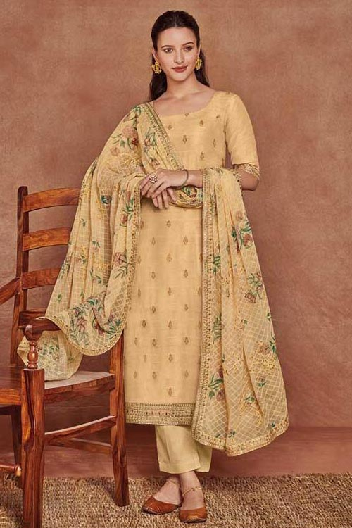 Tan Yellow Fine Cotton Satin Embroidered Salwar Suit With Jacquard Silk Dupatta