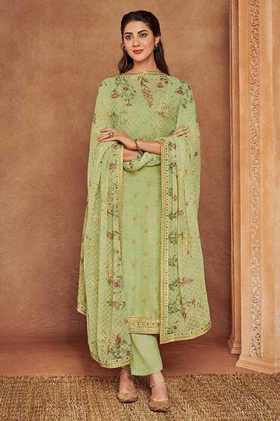 Sea Green Fine Cotton Satin Embroidered Salwar Suit With Jacquard Silk Dupatta