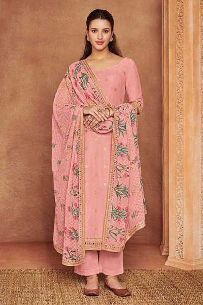 Pink Fine Cotton Satin Embroidered Salwar Suit With Jacquard Silk Dupatta