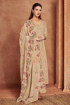 Beige Fine Cotton Satin Embroidered Salwar Suit With Jacquard Silk Dupatta
