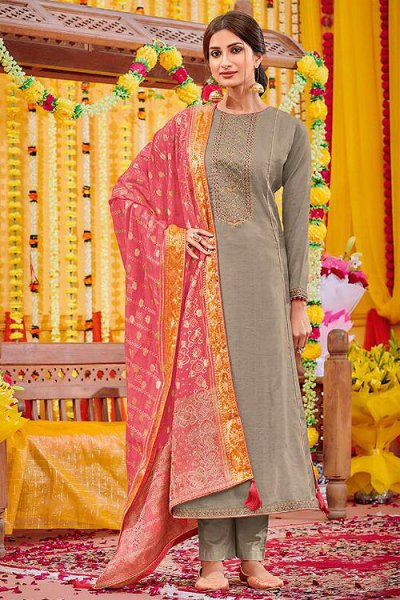 Graceful Cotton Silk Salwar Kameez with Dola Silk Bandhani Dupatta
