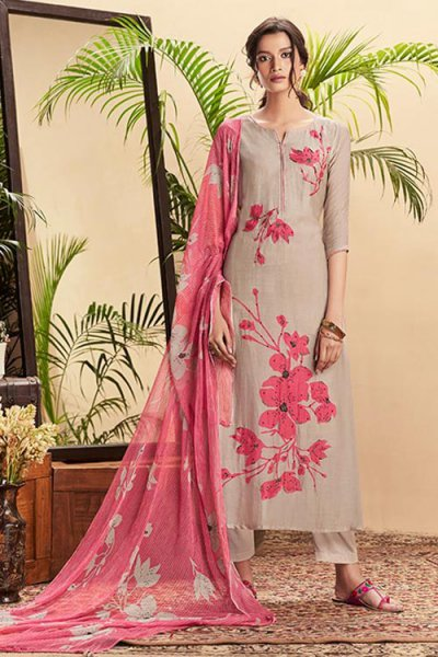 Brown Beige Pure Cotton Silk printed Salwar Kameez With Beautiful Chiffon Dupatta