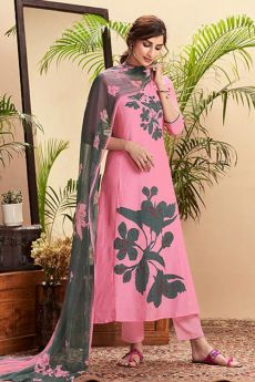 Ready to Wear Pink Digital Print Pure Cotton Silk Suit