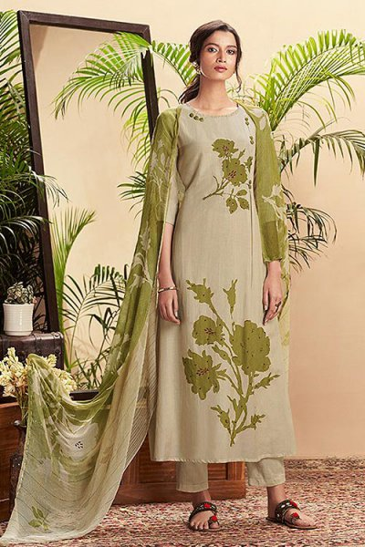 Light Green Pure Cotton Silk printed Salwar Kameez With Beautiful Chiffon Dupatta