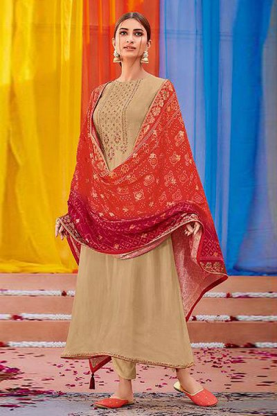 Elegant Cotton Silk Salwar Kameez with Dola Silk Bandhani Dupatta
