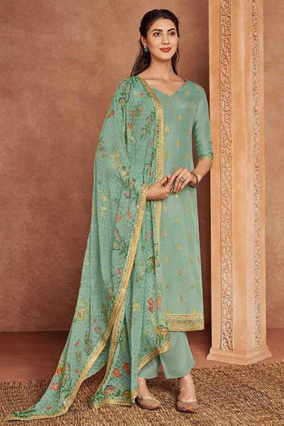 Turquoise Green Fine Cotton Satin Embroidered Salwar Suit With Jacquard Silk Dupatta