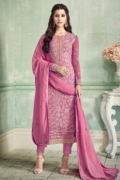 Elegant Dark Pink Pure Georgette Salwar Kameez With Embroidery