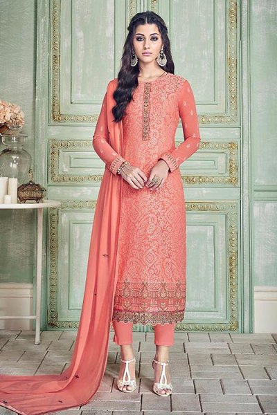 Beautiful Coral Pure Georgette Salwar Kameez With Embroidery