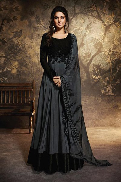 Unique Grey & Black Party Wear Pure Chanderi Silk & Georgette Anarkali Gown