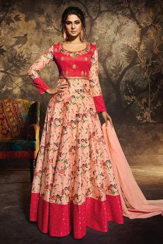 Punch Pink & Peach Party Wear Pure Chanderi Silk  Anarkali Gown