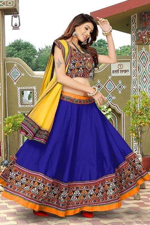 Royal Blue and Yellow Embroidered Cotton Lehenga Choli