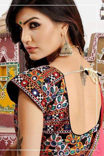 Bright Yellow and Pink Embroidered Cotton Lehenga Choli
