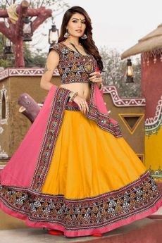 Bright Yellow and Pink Embroidered Cotton Lehenga Choli