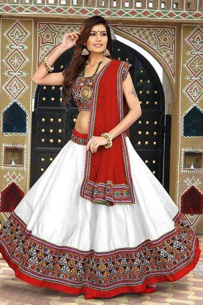 White and Turkey Red Embroidered Cotton Lehenga Choli