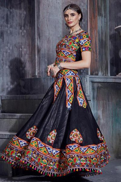 Japanese Cotton Embroidered Red & Black Navratri Lehenga Choli