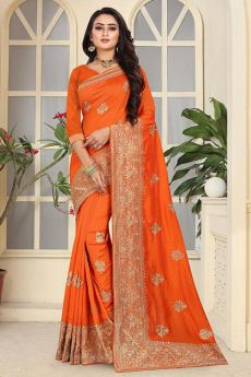 Designer Festive Wear Art Silk Saree in Bright Orange Colour