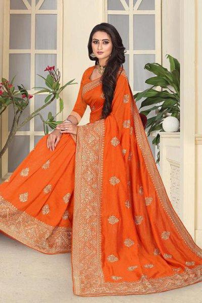 Designer Festive Wear Art Silk Saree in Bright Orange Colour