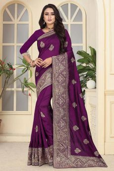 Designer Art Silk Saree in Pleasing Purple Colour