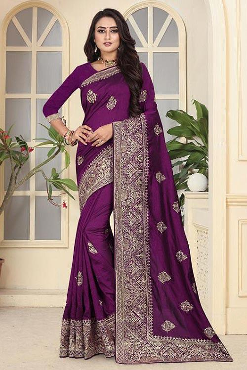 Designer Art Silk Saree in Pleasing Purple Colour