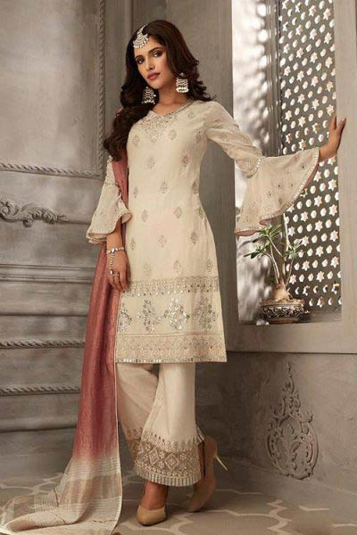 Cream & Dusty Pink Embroidered Suit in Pure Georgette