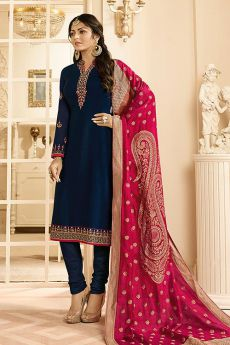 Party Wear Satin Georgette Salwar Kameez With Jacquard Silk Dupatta