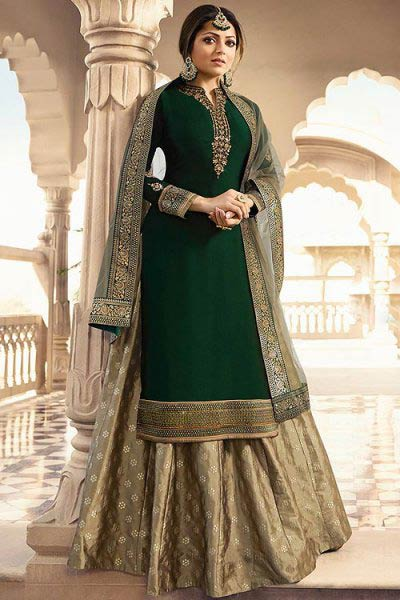 Dark Green Satin Georgette Suit With Brocade Skirt & Chiffon Dupatta