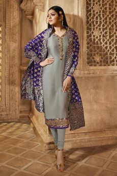 Designer Satin Georgette Salwar Suit With Jacquard Silk Dupatta