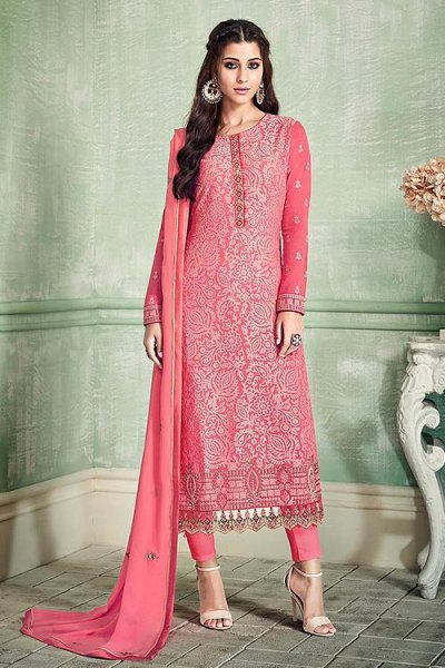Ravishing Rose Pink Pure Georgette Salwar Kameez with Embroidery