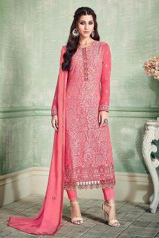 Ravishing Rose Pink Pure Georgette Salwar Kameez with Embroidery