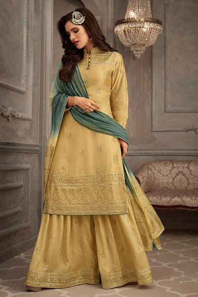 Light mustard & Green Embroidered Suit in Silk