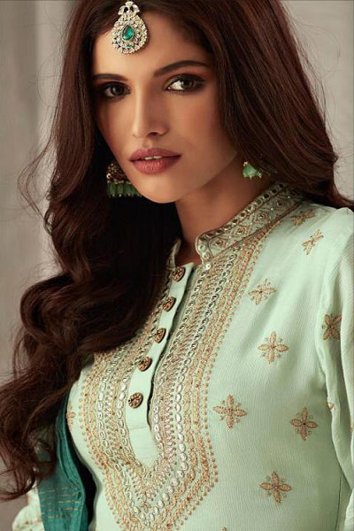 Two Tone Green Embroidered Suit in Pure Georgette