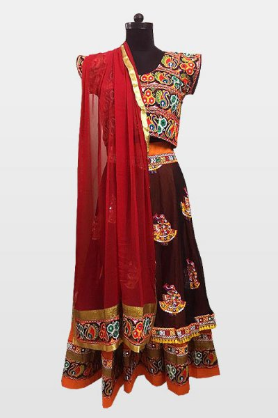 Maroon Navratri Special Embroidered Cotton Lehenga Choli