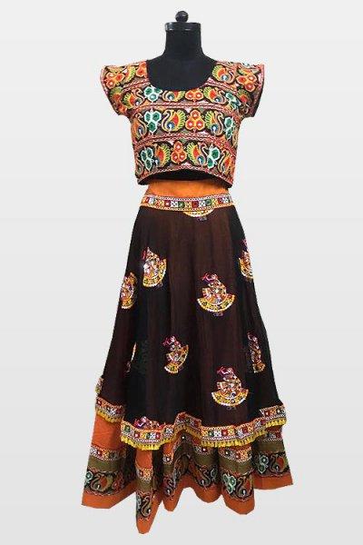 Maroon Navratri Special Embroidered Cotton Lehenga Choli