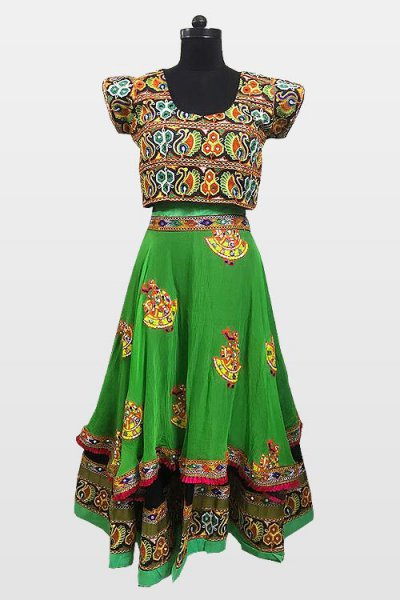 Bright Green Navratri Special Embroidered Cotton Lehenga Choli