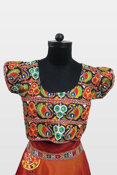 Red & Orange Navratri Special Embroidered Cotton Lehenga Choli