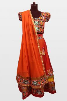 Red & Orange Navratri Special Embroidered Cotton Lehenga Choli