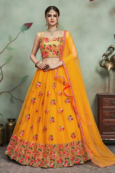 Mustard Net Lehanga Choli with Floral Embroidery