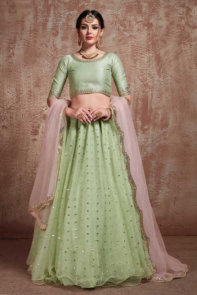 Pistachio Green Net Lehenga Choli with Sequin Work