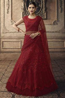 Ravishing Red Net Lehenga Choli with Embroidery
