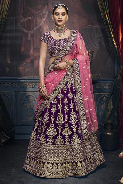 Purple Velvet Wedding Lehenga Choli with Heavy Embroidery
