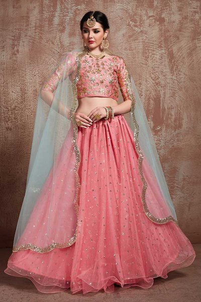 Pink Net Party Wear Lehenga Choli with Sequins Work
