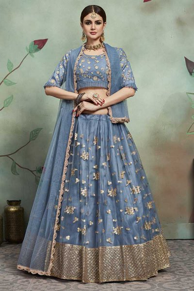 Steel Blue Net Lehenga Choli with Zari Embroidery