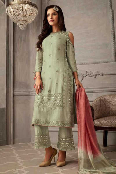 Mint Green And Pink Embroidered Suit in Pure Georgette