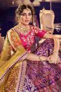 Purple Jacquard Silk Wedding Lehenga With Pink Embroidered Choli