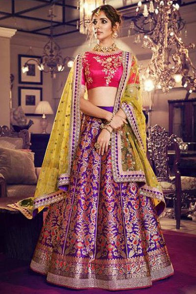 Purple Jacquard Silk Wedding Lehenga With Pink Embroidered Choli