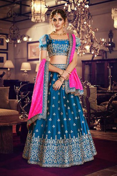 Blue Satin Silk Lehenga Choli With Embroidery