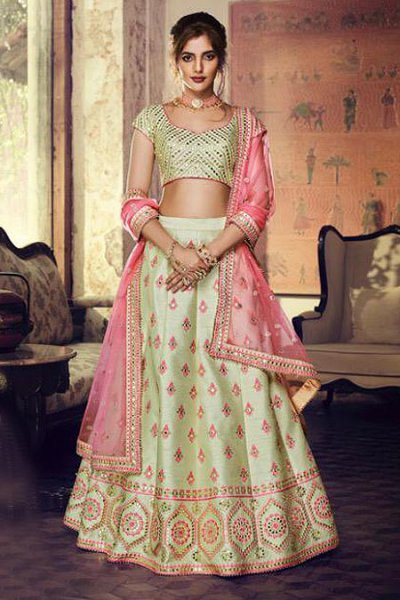 Pista Green Lehenga Choli with Embroidery and Mirror Work