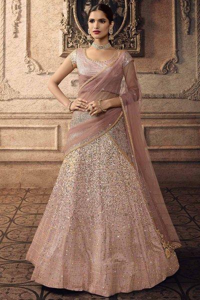 Pastel Pink Sparkling Lehenga Choli in Net